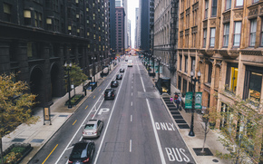 Skyscrapers, Chicago, people, street, building