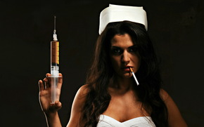 cigarette, syringe, Khan you buddy, girl