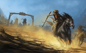 horse, hats, weapon, chase, Cowboys, painting, mob
