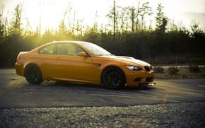 бмв, чёрные, диски, вид сбоку, оранжевый, BMW