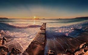 sea, sun, shore, surf, morning, stones