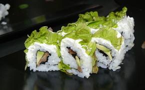 суси, ломтики, суши, рис, морепродукты, рыба, авокадо, листья, Япония, японская кухня, роллы, салат