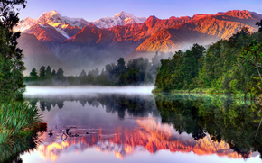 sky, Southern Alps, southern island, Mountains, Westland National Park, reflection, Mount Cook, lake, New Zealand, forest, Fox Glacier