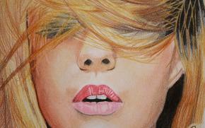губы, лицо, девушка, волосы на лице, макияж, живопись