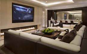 lounge, sofa, Pillow, table, chair., fireplace, design, TV, Candles, style
