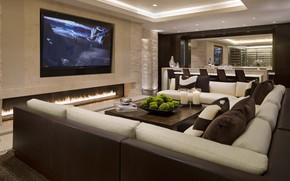 salone, divano, Cuscinetto, tavolo, sedia., caminetto, progettazione, TV, Candele, stile