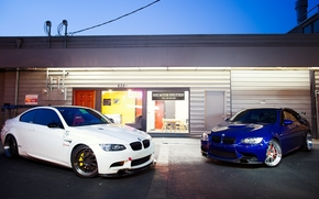 white, shop, wing, blue, BMW, BMW, showcase