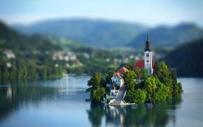 isla, Eslovenia, lago, cielo, Bled, nubes, iglesia