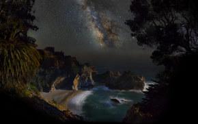 noite, mar, costa, praia, Estrela, Via Láctea