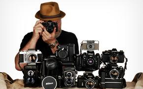 Hi-Tech, фотоаппараты, человек, фон