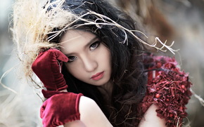 азиатка, девушка, взгляд