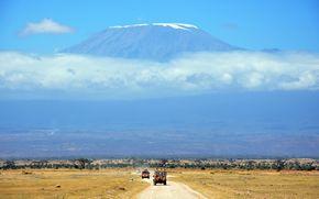 сафари, саванна, отпуск, гора, облака, африка, пейзаж, небо, автомобиль, дорога, отдых
