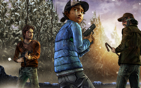 Clementine, weapon, situation, view, zombie, Survivors, hatch, Kenny