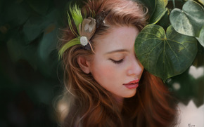 发夹, 面对, 女孩, 艺术, 叶子, 羽毛, 叶子