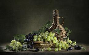 бутылка, натюрморт, виноград