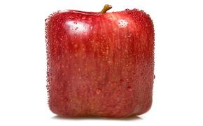 Rendering, fruit, square apple