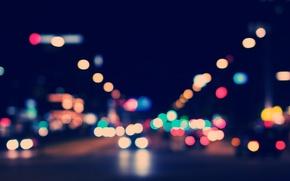 luci, notte, macchinario, bokeh, strada, città