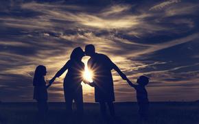 Family, ray of sunshine, children, kiss