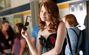 актриса, фильм, очки, эмма стоун, улыбка, отличница легкого поведения