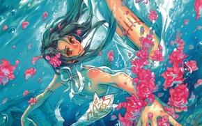 арт, девушка, аниме, лепестки, под водой, пузыри, цветы