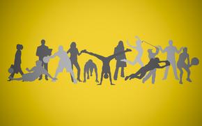 silhouette, sfondo, persone, Sport
