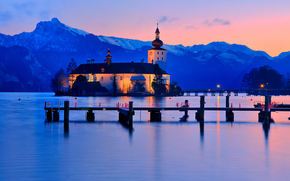 Lago Traunsee, città, Montagne, Gmunden, Austria, Alpi