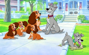 American Cocker Spaniel, Lady and the Tramp, Walt Disney Studios, bone, Homer, Tramp, Dog, home, Puppies, lady, homeless dog, Walt Disney, Cartoon