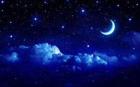 Widescreen, crescent, story, Star, clouds, month, wallpaper, night, cloud, landscape, Widescreen, background, sky, fullscreen, moon