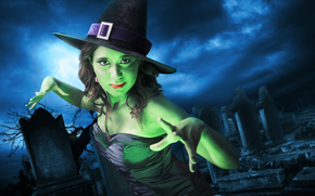 cemetery, halloween, girl, witch, holiday