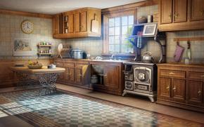 room, window, table, light, kitchen, Art, watch