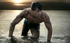 guy, Muscle, athlete, water