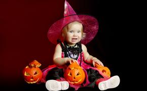 тыквы, праздник, хэллоуин, девочка