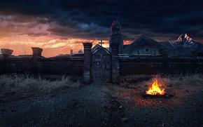 забор, костёр, крест, ворота