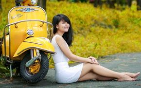 девушка, Мотоциклы, взгляд, азиатка, моторолер, улица
