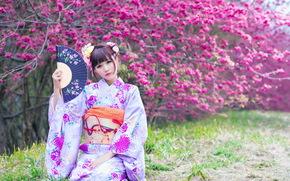 девушка, сад, весна, азиатка