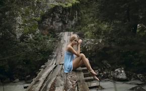 visualizzare, vestire, ponte, ragazza, gambe