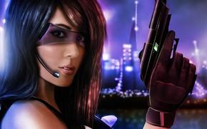 девушка, очки, пистолет, арт, город, оружие