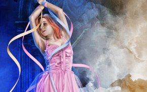 hair, face, Pink Dress, hands, ballerina, girl, Ribbons, Art