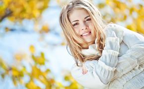 настроение, осень, улыбка, лицо, время года, красивая, блондинка, девушка