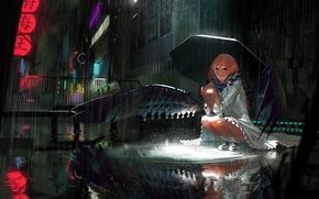 Sztuka, ulica, noc, deszcz, skrzydełka, dziewczyna, parasol, miasto
