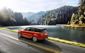SIDE VIEW, Car, orange, Land Rover, lake, forest, road