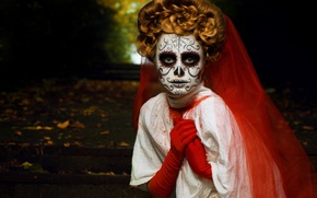 hairstyle, mask, holiday, girl, halloween