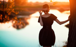 vestir, descobrir, pôr do sol, óculos
