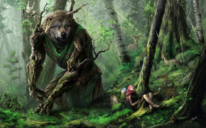 forest, wolf, Art, Beasts, trees, girl