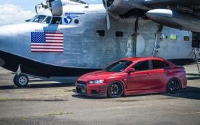 Mitsubishi, red, Lancer Evolution, plane, Mitsubishi