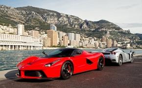 красный, Ferrari, серебристый, причал, энцо, феррари, лаферрари