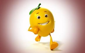 походка, лимон, улыбка, фон