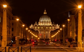 Vaticano, Italia, maquinaria, carretera, calle, Plaza de San Pedro, iluminación, Roma, Vía della Conciliazione, luces