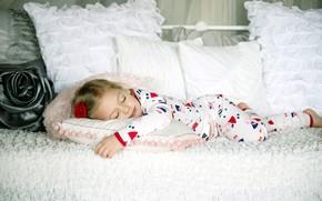 розочка, широкоформатные, обои, сон, дети, кровать, подушки, широкоэкранные, спит, фон, отдых, настроения, девочка, расслабление, полноэкранные, детишки