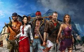 Parn, Guns, knife, Palanai, ax, Survivors, CLOUDS, Mountains, Logan, Xian Mei, Heroes, Sledgehammer, island, John Morgan, Sam Bee, zombie, weapon